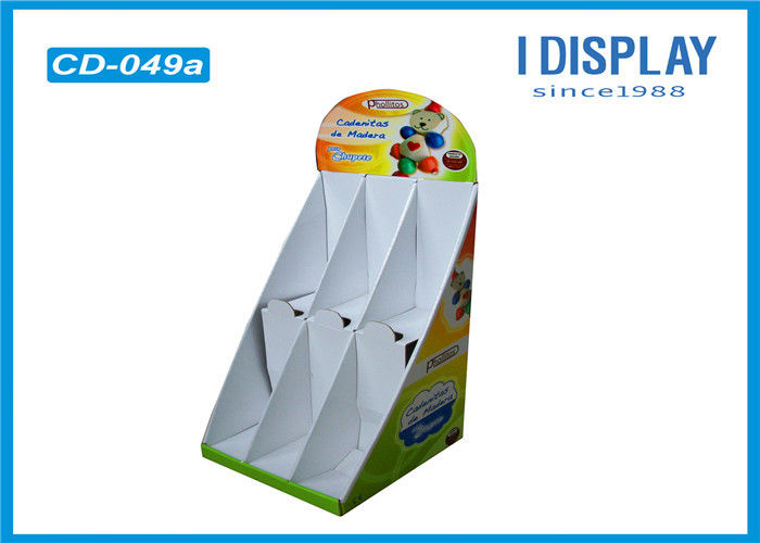 2 Tier Cardboard Corrugated Counter Display Stands For Supermarket Retail