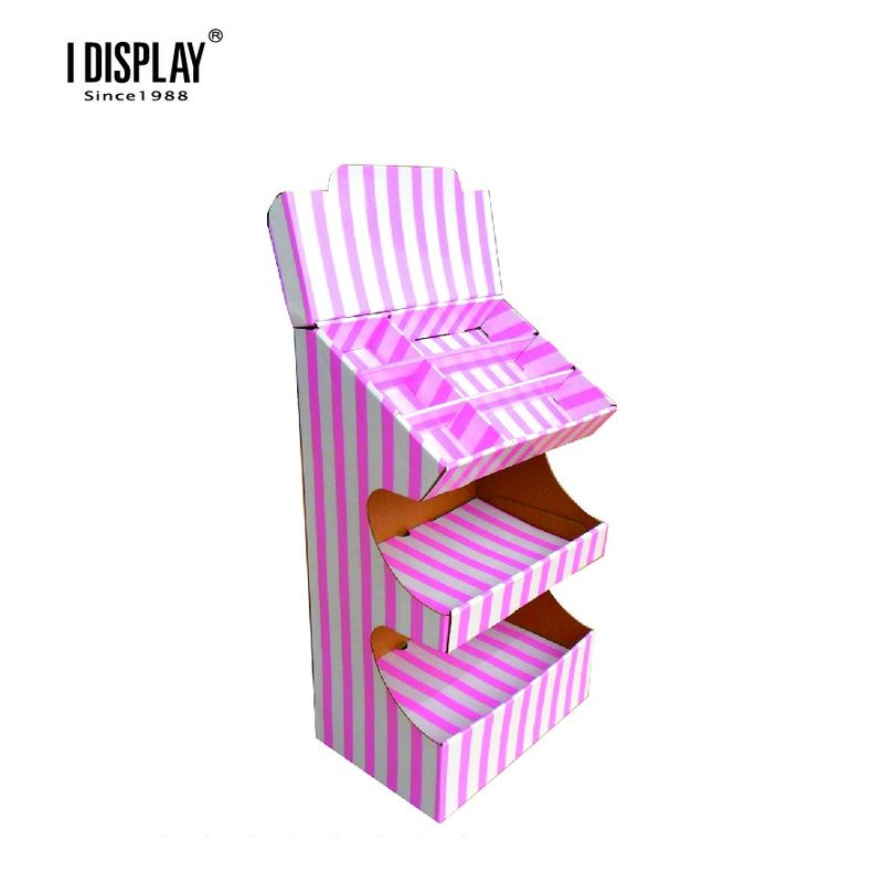 Pink Cute Multi Tiers Cardboard Counter Display For Bread And Cake Promotion