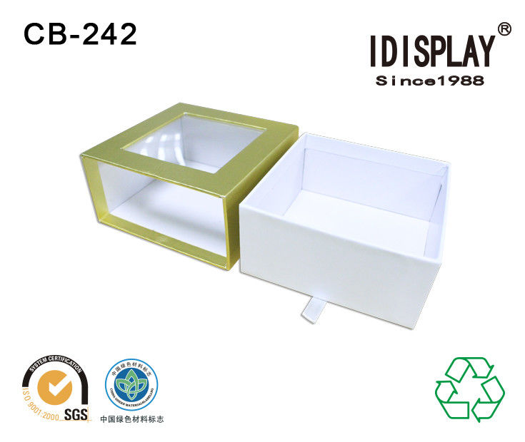 Cardbard Drawer Gift Box with Plastic PVC Window Fancy Paper Jewelry Packing Gift Box